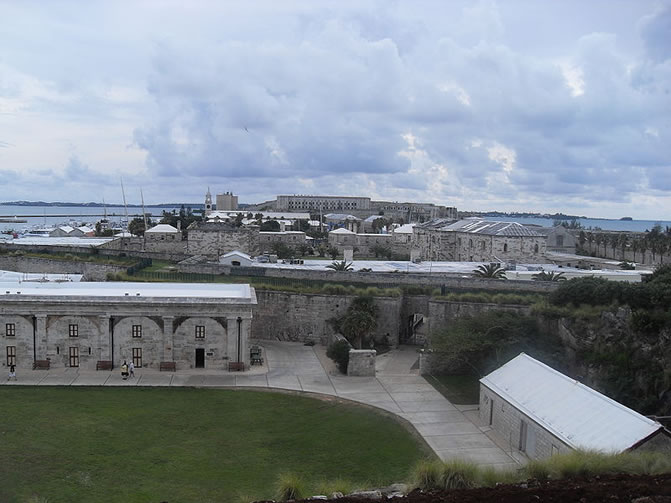 View from the Commissioner's House over the Parade Grounds of the fortress Keep towards its entry, now the entry of the Bermuda Maritime Museum.
